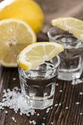 two shots (tequila) - stock photo