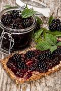 fresh made blackberry jam - stock photo