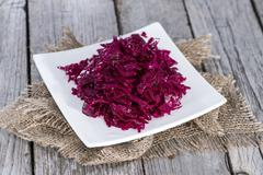 Portion of red coleslaw Stock Photos