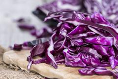 portion of red coleslaw - stock photo