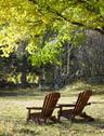 Stock Photo of Adirondack chairs on lawn