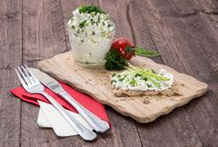 Healthy fresh crispbread with cheese Stock Photos