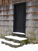 USA, New York State, Door to barn covered with snow Stock Photos