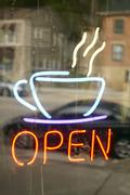 USA, New York State, Neon sign in cafe window Stock Photos