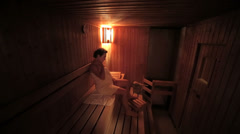 Senior woman in Sauna Stock Footage
