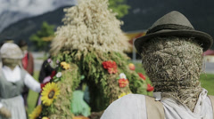 Sale of scarecrows Stock Footage