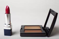 Stock Photo of Make-up kit with red lipstick