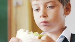 Little schoolboy eating sandwich in class Stock Footage