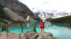 Male hiker Moraine Lake Valley Alberta, Canada - stock footage
