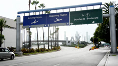 Overcast Los Angeles International Airport Sign Stock Footage