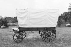 Mustavalkoinen katettu vaunu Kuvituskuvat