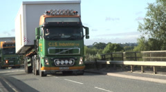 Two large lorries with portacabins onboard - stock footage