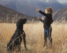 Girl playing fetch with dog - stock photo
