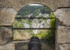 Canon from the castle of bouillon Stock Photos