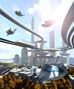 Ilmakuva futuristinen kaupunki Piirros