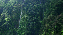 Several waterfalls in Madeira rainforest mountains Stock Footage