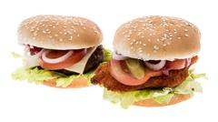 cheeseburger and chickenburger isolated on white - stock photo