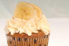 Vanilla cupcake with banana Stock Photos