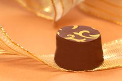 delicious dark chocolate bonbon - stock photo