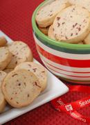 delicious cranberry and pecan shortbread cookies - stock photo