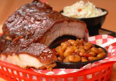 Bbq ribs with beans and cole slaw Stock Photos