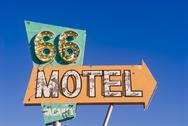 Stock Photo of route 66 motel sign from an abandoned motel