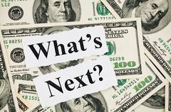 What is next concept, words on hundreds us notes Stock Photos