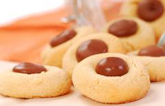 peanut butter cookies with chocolate - stock photo