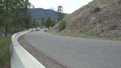 Motorsports, hill-climb, black Subaru wide shot pan Stock Footage