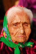 99 year old navajo woman - stock photo