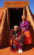 Elderly navajo woman with her daughter Stock Photos