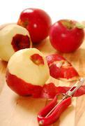 Pealing apples Stock Photos