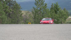 Stock Video Footage of motorsports, hill-climb, red Honda civic outside hairpin