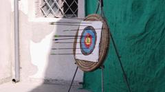 Arrow hits archery target: center, shot, sport, aim  Stock Footage
