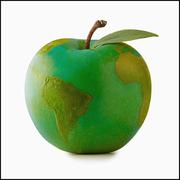 Apple in shape of globe, studio shot - stock illustration