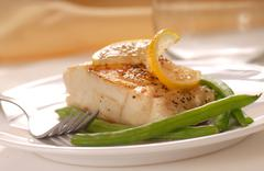 cod fillet with green beans - stock photo