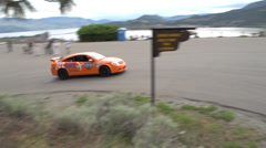 Motorsports, hill-climb, orange Neon hairpin Stock Footage
