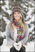 Stock Photo of USA, Utah, Salt Lake City, portrait of young woman in winter clothing