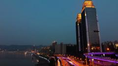 Modern City in night Stock Footage