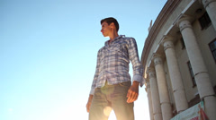 Looking for a place to study, university, college, young man Stock Footage