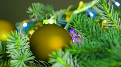Christmas Ball and Christmas Tree. New Year Decoration. Stock Footage
