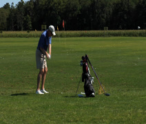 Golfer practicing swing Stock Footage