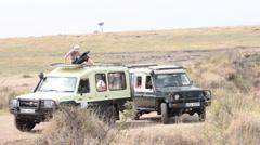 Tourists on Safari Vehicle in Masai Mara Stock Footage