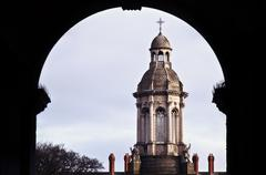 Trinity College Dublin shot from a gallery - stock photo