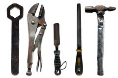 Old used vintage tools isolated on white background, clipping path included. - stock photo