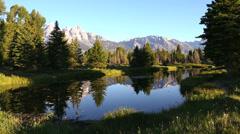 Male hiker Grand Teton National Park, Wyoming, USA Stock Footage