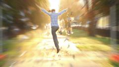 Man jumps high super slow motion shot heaven sun light Stock Footage