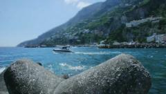 Boat Leaving the Amalfi Harbour in Italy - 29,97FPS NTSC Stock Footage