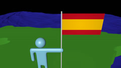 Man with flag on Spain map in ocean animation Stock Footage