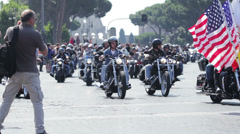 Harley Davidson - 110th anniversary celebrations,colosseum,coliseum Stock Footage